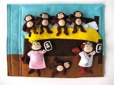 Five Little Monkeys Quiet Book Page monkey quiet, book idea, craft, felt, monkeys, quietbook, quiet books, book pages, kid