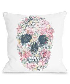 White Skull Flowers Throw Pillow//