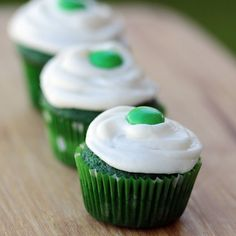 St. Patricks Day green velvet cupcakes.