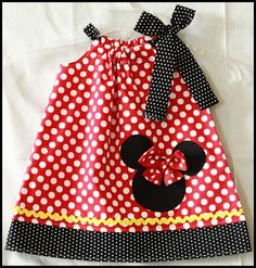 Red Polka Dot Minnie Mouse pillow case dress