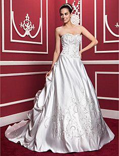 A-line/Princess Sweetheart Chapel Train Satin Wedding Dress – USD $ 334.99