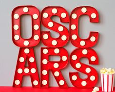 marque letter, craft, parties, diy idea, oscar parti, light, letters, oscar party, movie party