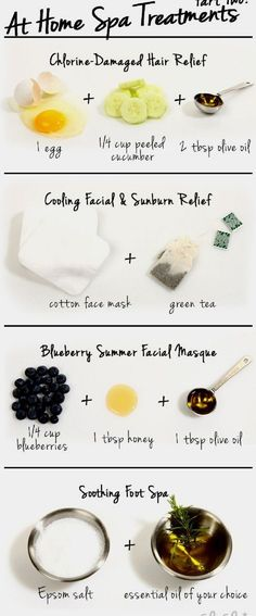 7 SPA DIY Ideas - Here how you can relax. You can make your body feel relaxed and young again. We' ve  become a culture of quick showers rather than long luxurious baths…but the times when we do want to take a long soak, adding some scented and/or therapeutic salts to the water really make the bath wonderful. Bath salts add a beautiful and aromatic touch to any room. You can also drink and eat things you can prepare easily and they also work therapeutically.