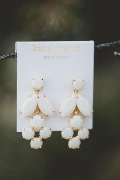 Kate Spade wedding earrings, photo by Kristen Soileau Portraits http://ruffledblog.com/pagosa-springs-wedding #weddingjewelry #jewelry #katespade