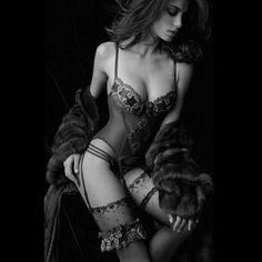 Fancy #tastefultuesday (even thought it's technically Wednesday)  (source: theguccislut.tumblr.com)     http://itsonlyabody.tumblr.com/submit garter, lingerie, sexi, furs, purple, colors, corset, beauti, coat