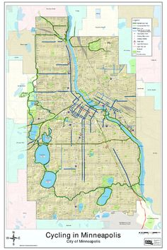 Map of the amazing bike trails around the city. MPLS was voted #1 bike friendly city in the US