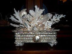 Shell Encrusted Ivory Coral & Rhinestone Trinket Box by shellstyle, $395.00