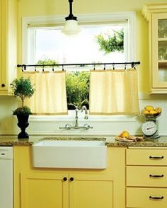 Brighten up your kitchen with dish-towel curtains!