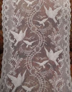 Beautiful Antique French Filet Lace Curtain Pair with Bird Motif