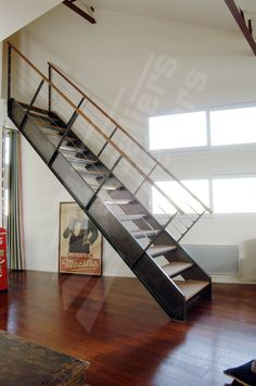 Escalier on pinterest modern stairs floating stairs and manhattan - Rampe escalier cable acier ...