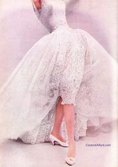Couture Allure Vintage Fashion: White Lace by Givenchy, 1954