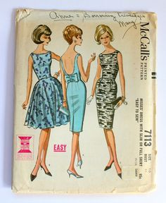 1963 McCall's Dress Pattern sz 10 7113 by SunOnTheLilies on Etsy, $20.00