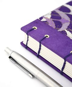 Closeup of Stitching on Purple Cranes Chiyogami Journal | Handmade by Ruth Bleakley