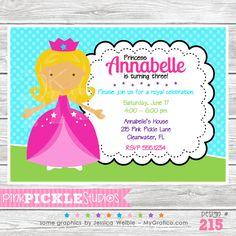 Princess 3 Personalized Party Invitation
