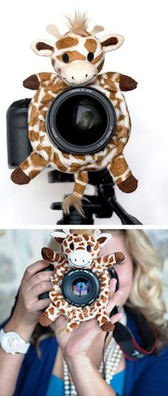 BEST. INVENTION. EVER! The Shutter Hugger gives little ones something to focus on when pictures are being taken. Such a great way to grab their attention and make them smile!