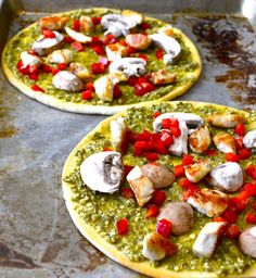 Pesto Chicken Pizza...chicken+mushrooms+pesto+red pepper+cheese! An easy switch up from regular old pizza! www.maebells.com