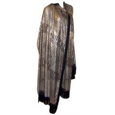 1920s Silver on Black Net, Substantial  Assuit Shawl with Fringe