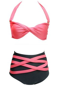 High-waisted #swimsuit  http://fashioncherry.co/