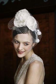Bridal Camellia Crown, silk flowers with veiling, by Jennifer Behr bridal :: Vintage Dress :: Photography by Belathée :: wedding :: headband :: bride :: silk