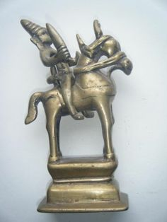 Old Traditional Indian Brass Horse With God Shiva Rare Antique Vintage #582