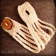 Cream Crochet cuff/bracelet w/ handmade wooden by MyYarnBaby, $12.00
