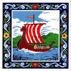"Scandinavian Trivet Tile ""Viking Ship"" Rosemaling Trim 6"" X 6"" Cork backing"