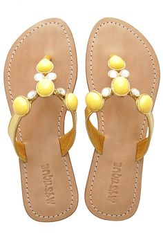 MYSTIQUE Yellow Stone Leather Sandals - @Marsha Penner Crowe shoes