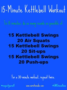 15-Minute Kettlebell Workout [Fitness, Cardio, Strength training, Circuit training]