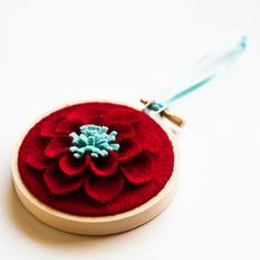 Wool Felt Flower Christmas Ornament $12