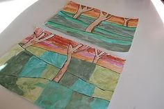 Fall Landscape Art Lesson-- these were simple and turned out very pretty