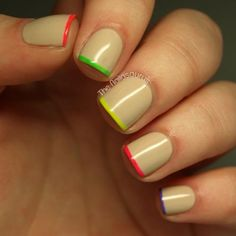 Get ready for summer with neon-tipped nails. Adding color to the tips of your nails lets you use multiple colors without going overboard. #nailart #mani #manicure #summer #neon