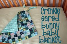 Sew up a Crinkle-Eared Bunny Blanket - so smart, the crinkle ears are made with old baby wipes containers!