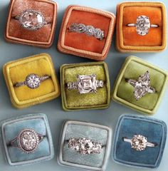Vintage Rings in adorable velvet boxes!