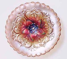 *FIVE HEARTS BOWLS ~ especially those that are pulled up and flared, are sometimes referred to as compotes. This particular Carnaval Glass bowl, is beautiful, rare lavender bowl.