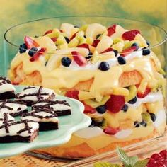 Fruity Angel Food Trifle Recipe- I've made this many times and everyone loves. The longer it sets in the frig, the more the more flavors mingle. foods, trifles, food trifl, angel food cake trifle, angel food cake parfait, angels, angel food cake and pineapple, trifl recip, fruiti angel