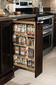 "Aristokraft's popular base pullout #cabinet now comes in 6"" wide! It keeps smaller, but often-used items close at hand."