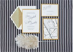 gold weddings, black weddings, wedding ideas, paper, wedding invitations, black white, black gold, envelop, glitter