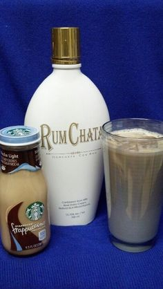 "Mocha Chata:  1/2 Mocha Frappuccino, 1/2 RumChata liqueur = creamy-cinnamony deliciousness!  (Ice and ""Light"" formula frapp are optional)"