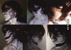 costum, titan makeup, anim, kyojin attack, eren jaeger, titan cosplay, shingeki, titan eren, eren titan