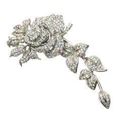 Swarovski Crystal Trailing Flower Bridal Brooch - Bridal Jewellery - Crystal Bridal Accessories