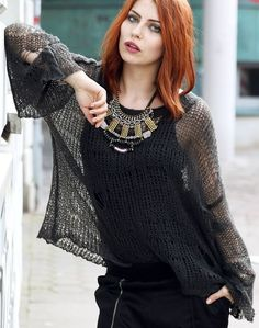 Wildfox Black Loose-fit Open Weave Knit Sweater knit sweaters