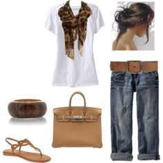 jeans, white tee, tote bag, scarf  hard to beat