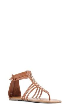 Deb Shops Flat T-Strap Sandal with 3 Straps and Zip Back $16.03
