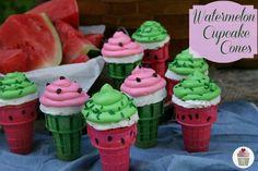 Watermelon Cupcake Cones- cute for summer!