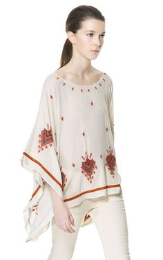 EMBROIDERED PONCHO from Zara