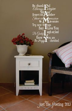Family Wall Decal Vinyl Lettering  Family Rules by JustTheFrosting, $17.00 Home decor