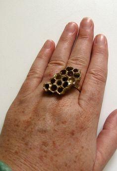 Golden Honey Comb Ring Wasp Nest Beehive Ooak Metalwork Bronze 14kt vermeil $95