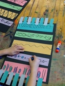 Kindergarten Magic Carpets Lines patterns, and still learning how to glue elementary art education beginning of the year project lesson pattern, art class, magic carpet, aladdin crafts, kindergarten magic, art education, elementary art, line art, art projects