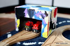 Make your own train shed from a dryer sheet box! Your little engineers will love this!