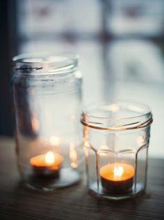 recycled jars, camp style, patio lighting, old jars, fall decorating, mason jar candles, mason jars, candle jars, tea lights